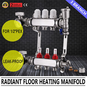 3 Branch Pex Radiant Floor Heating Stainless Steel Manifold Kit 1 2 Leak proof