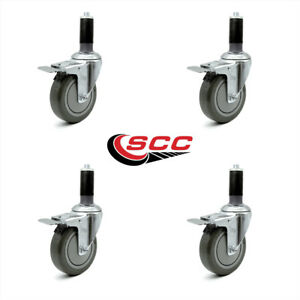 Scc 4 Gray Polyurethane Caster W 1 1 4 Expanding Stem W tl Brake Set Of 4