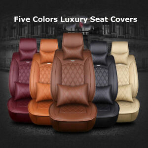 Luxury Car Auto Microfiber Leather Seat Covers Cushion Front rear Full Set