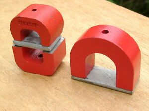 Lot Of 3 Alnico 5 Horseshoe Magnets Red 12 Oz 7 Oz 6 Oz General