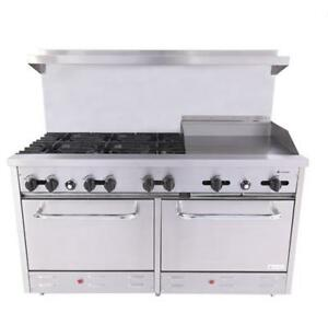 Venancio 60 Heavy Duty Gas Range 6 Burners 24 Griddle And Oven Controls