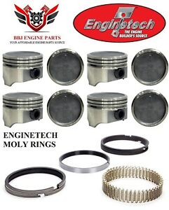 Chevy Chevrolet 305 5 0 Enginetech Dish Top Pistons And Moly Piston Rings 76 86