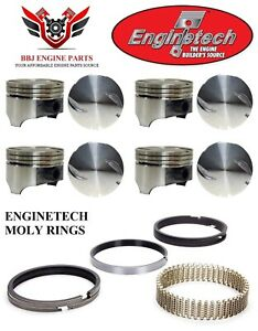8 Gm Chevy Chevrolet 454 7 4l Bbc Flat Top Pistons And Moly Rings 1970 1983