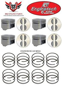 Chevy Chevrolet 305 5 0 Sbc Enginetech Flat Top Pistons And Piston Rings 80 89