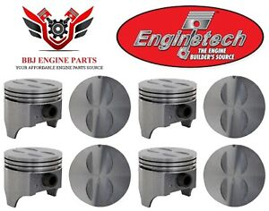 Chevy Chevrolet 327 Sbc Enginetech Flat Top Pistons 8 1962 1969