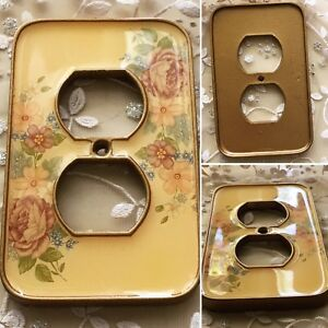 Victorian Ornate Enamel Floral Flower Heavy Quality Brass Electric Outlet Cover