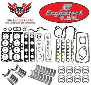 Enginetech Ford 460 7 5l Re Ring Rebuild Kit With Main Bearings 1988 1992