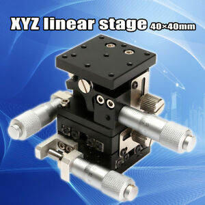 Xyz Linear Stage Slip 40mmx40mm Cross roller Bearing Miniature Compact Left Hand