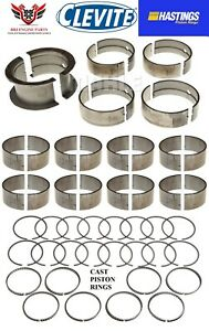 Chevy Bbc 427 454 Clevite Rod Main Bearings With Hasting Piston Rings 70 90