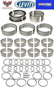 Dodge Chrysler Mopar 340 68 73 Clevite Rod Main Bearings With Hastings Rings
