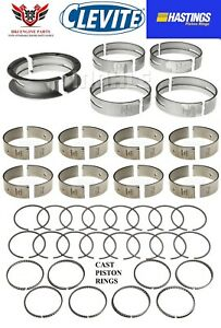 Ford 351w Windsor Clevite Rod Main Bearings With Hastings Piston Rings 69 76