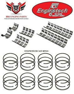 Enginetech Chevy Sbc 350 5 7 Rod And Main Bearings With Piston Rings Set 87 95