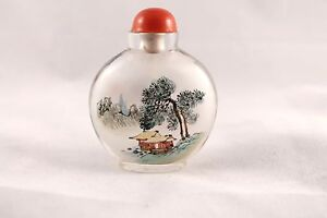 Chinese Reverse Painted Snuff Bottle Bird On Branch House Landscape