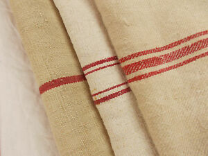 Lot Of 3 Vtg Antique Red Stripe French Hemp Linen Fabric Feed Sack Grain Bags
