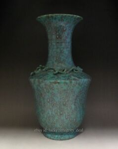 14 5 Rare Chinese Lu Jun Green Glaze Carved Dragon Porcelain Vase With Mark