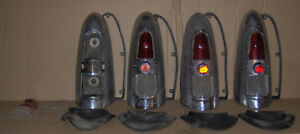 1952 1953 Mercury 4 Tail Light Housings With Lenses Gaskets Sockets Etc