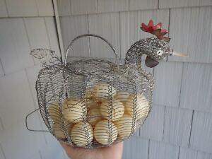 Antique Rare 19c Primitive Chicken Wire Gathering Egg Basket With Eggs