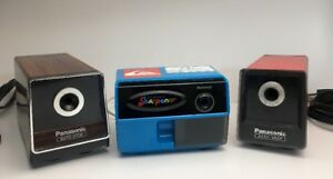 Lot Of 3 Vintage Panasonic Auto Stop Electric Pencil Sharpeners All Tested