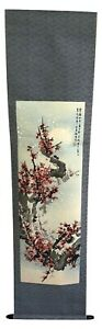 Japanese Hanging Scroll Art Color Painting Snow Fall Flower Tree Asian Antique