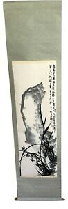 Japanese Hanging Scroll Art Painting Flowers Lanscape Asian Antique Vintage Box