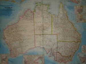 Vintage 1963 Australia Map Authentic Original 50 Year Old Map
