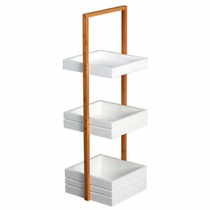 Condiment Caddy With Shallow White Trays Natural Bamboo 3 tier 10 l X 11 d X