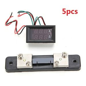 5pcs Mini Digital Blue Red Led Dc Current Meter Volt Meterr With Ampere Shunt
