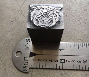 Letterpress Printer's Cut -- GROWLING CAT FACE -- Solid Lead Foundry Type