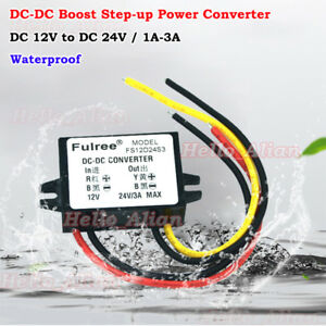 Waterproof Dc dc Step Up Volt Converter 12v To 24v 3a Mini Boost Regulator Car