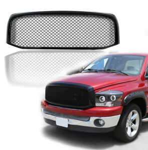 Fits 2006 2009 Dodge Ram1500 2500 3500 Mesh Style Glossy Black Front Hood Grille