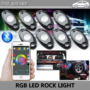 8pcs Rgb Led Rock Lights Underbody Neon Light Pod Offroad Wireless Bluetooth App