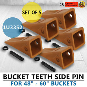 5 Pack 1u3352 Bucket Digging Teeth J350 Cat Style Alloy Steel 68lbs Pro Newest