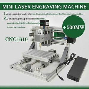 3 Axis Router Mini Wood Carving Machine Cnc1610 Pcb Milling 500mw Laser Head Vp