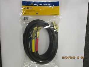 Yellow Jacket 29805 3 Pack 60 Plus Ii Black ryb Ref Hoses W vlv s