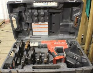 Ridgid Rp330 Propress Hydraulic Crimp Tool In Case With 6 Jaw Heads