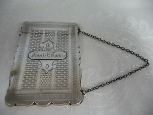 Vintage Coin Silver Chased Card Case On A Chain Engraved 1920 1930