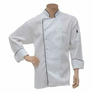 Dickies Executive White Poly Cotton Chef Coat With Black Piping Large
