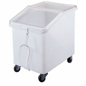 Cambro 37 Gal White Plastic Slant Top Ingredient Bin With Clear Lid 29 5 8 l X
