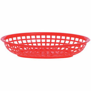 Hubert Serving Basket Fast Food Serving Basket Large Oval Red 9 1 2 L X 6 W X