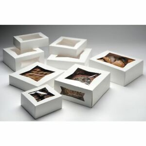 Bakery Box With Window White Paper 9 Sq X 2 1 2 D 200 Per Case