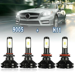 2 Pair 9005 H11 Combo Total 2000w 300000lm Led Headlight Kit Light Bulbs 6000k