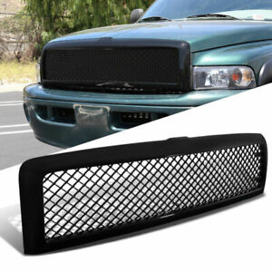 New Mesh Upper Bumper Grille Grill For 1994 02 Dodge Ram 1500 2500 Black Abs