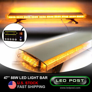 47 Amber 88w Emergency Led Strobe Roof Security Light Bar Slim Digital Remote