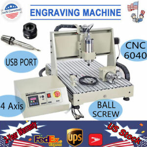 4 Axis Engraving Machine Cnc 6040 Hq Router Cutter Drill 3d 1 5kwusb Port Mill