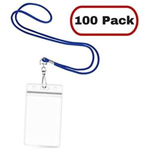Vertical Id Name Badge Holder With Woven Lanyard royal Blue Non breakaway 100