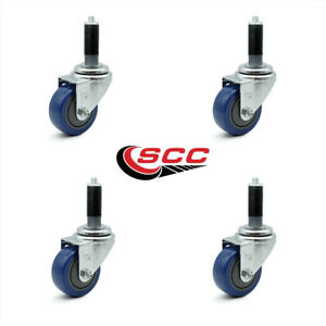 Scc 3 Blue Polyurethane Caster W 1 Expanding Stem Set Of 4