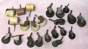 Lot 22 Vintage Industrial Castors Wheels All Shapes Sizes 1 1 2 2 3 4 Inches