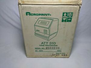 Acroprint Electronic Time Clock Model Att 310 Excellent Conditio Free Shipping