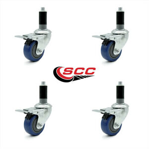 Scc 3 Blue Polyurethane Caster W 1 1 8 Expanding Stem W tl Brake Set Of 4