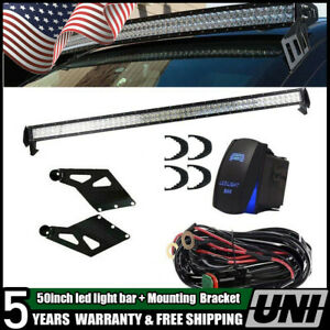 54 inch Led Light Bar W Roof Windshield Mount Brackets For 2010 2015 Dodge Ram